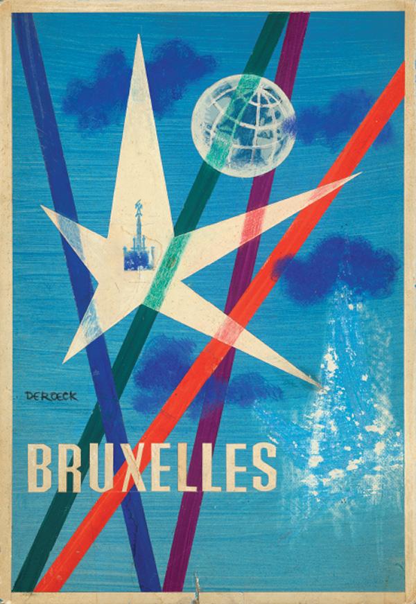 Lucien De Roeck, schets, voorontwerp affiche Expo 58 - 1957