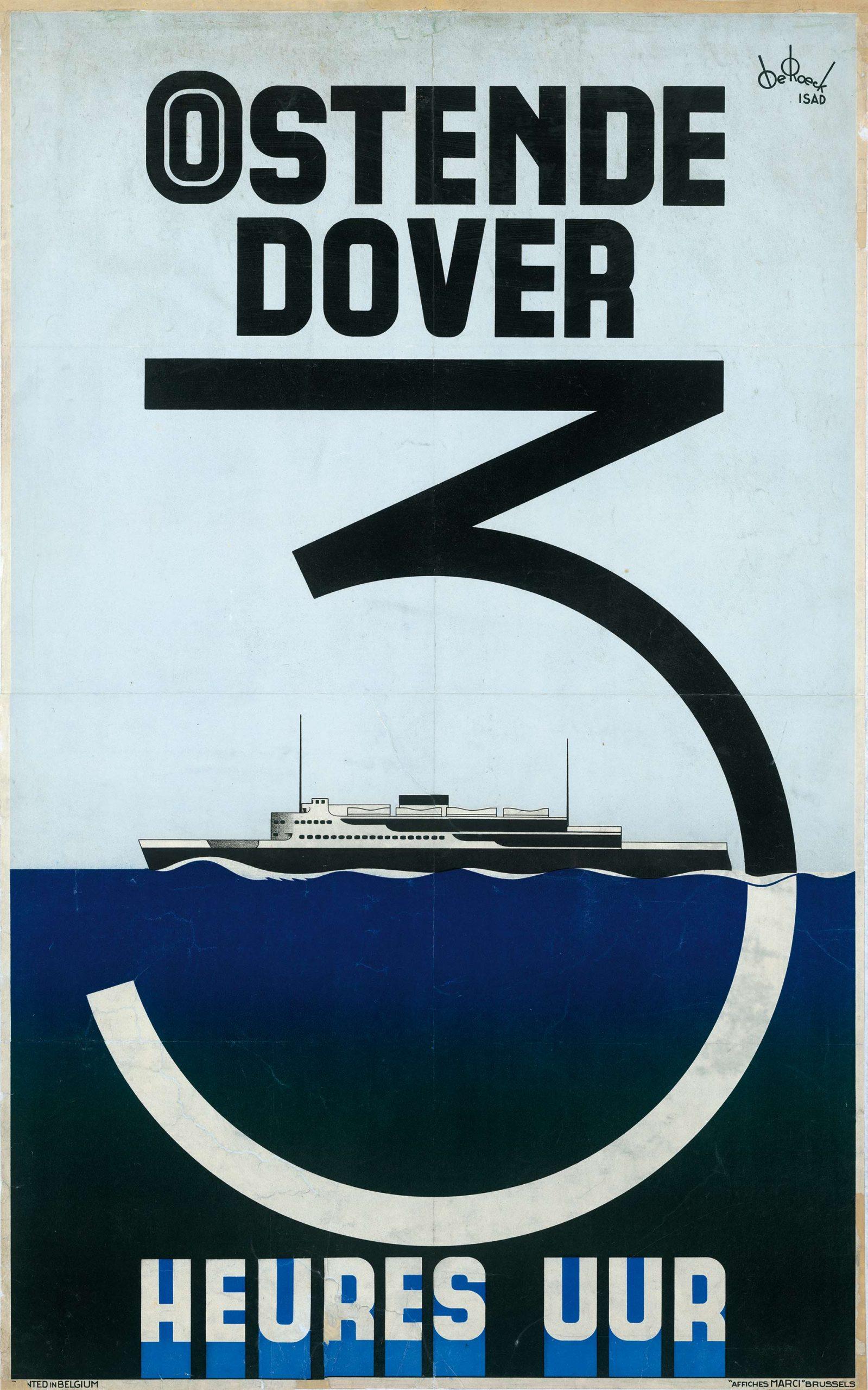 Lucien De Roeck - Oostende Dover - affiche