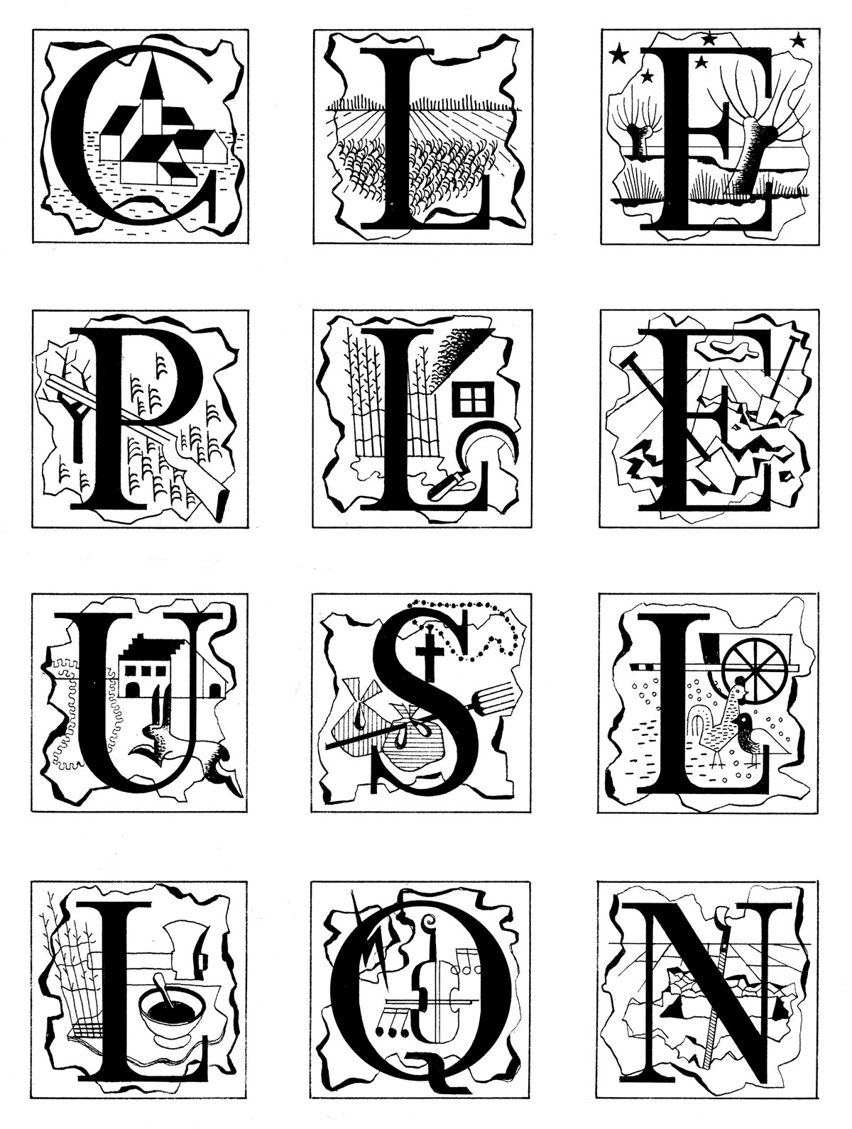 Typografie 12 Geïllustreerde Letters