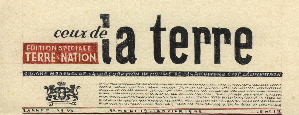 Typografie La Terre Krantenkop