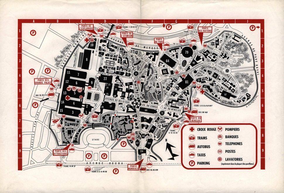 Brussel Tentoonstellingspark Expo 1958 Plan 2