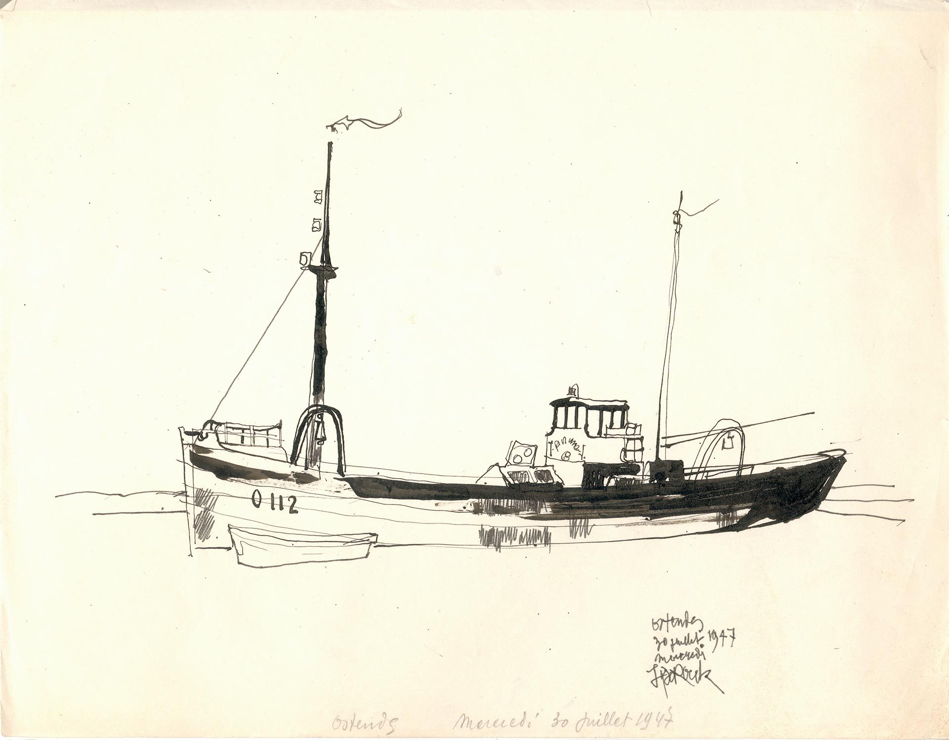 Schetsen Boten Oostende 1947