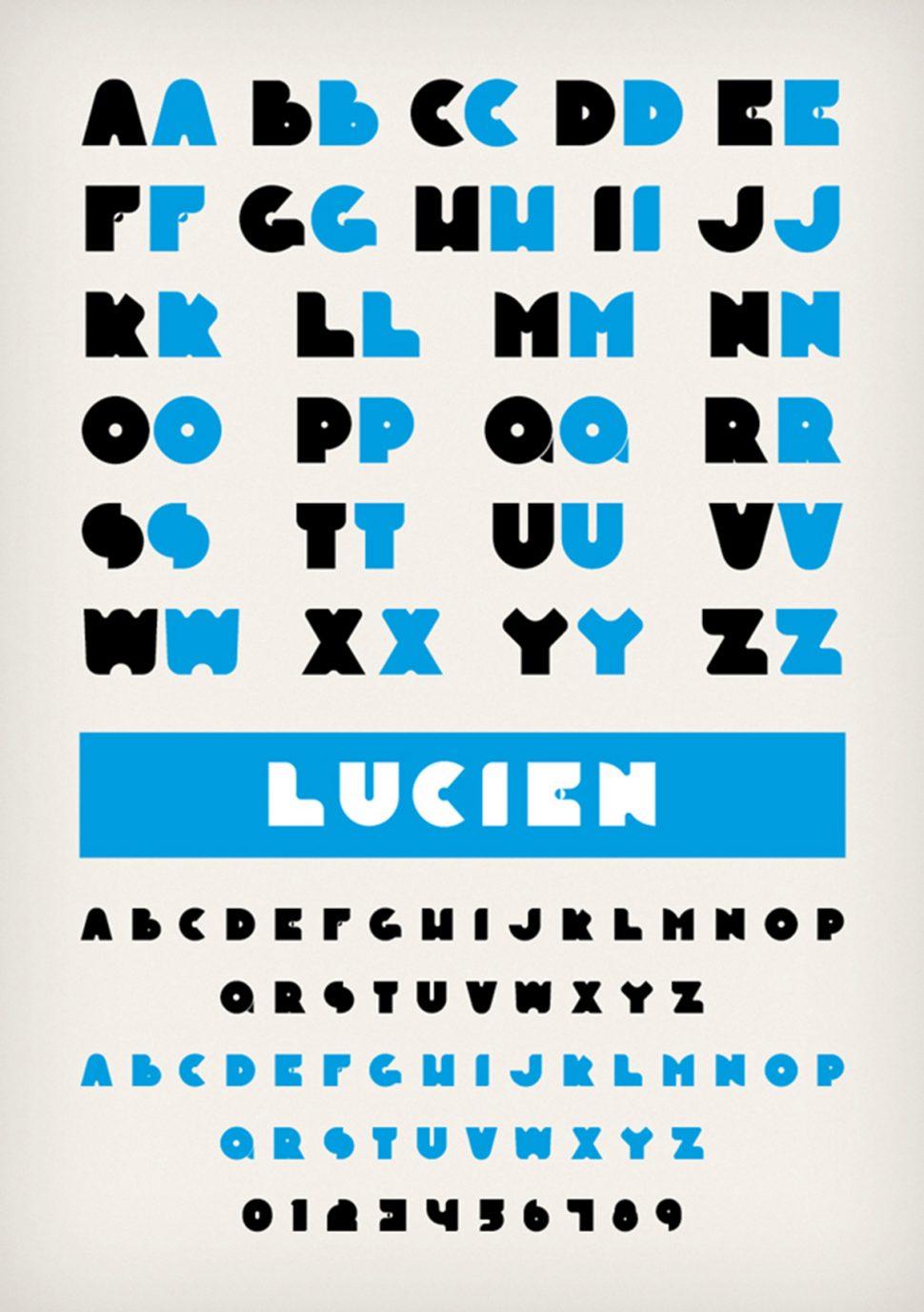 Typespecimen Lucien Font